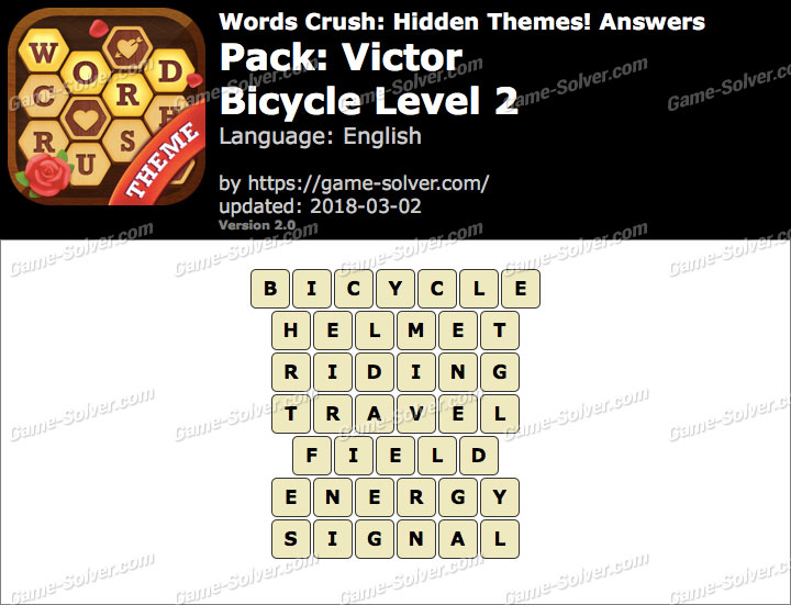 Words Crush Victor-Bicycle Level 2 Answers
