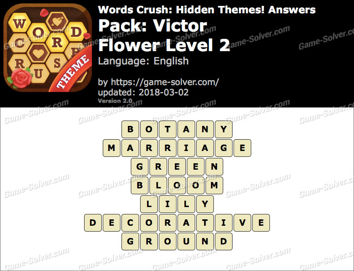 Words Crush Victor-Flower Level 2 Answers