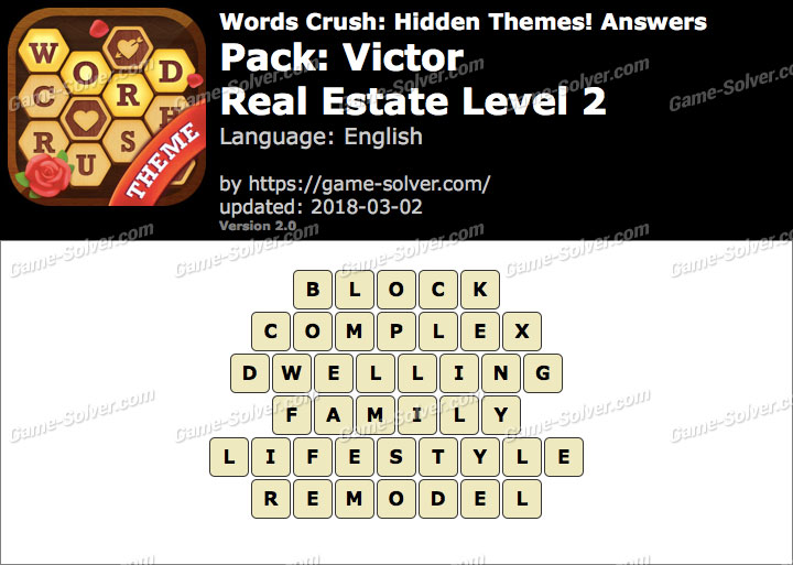 Words Crush Victor-Real Estate Level 2 Answers