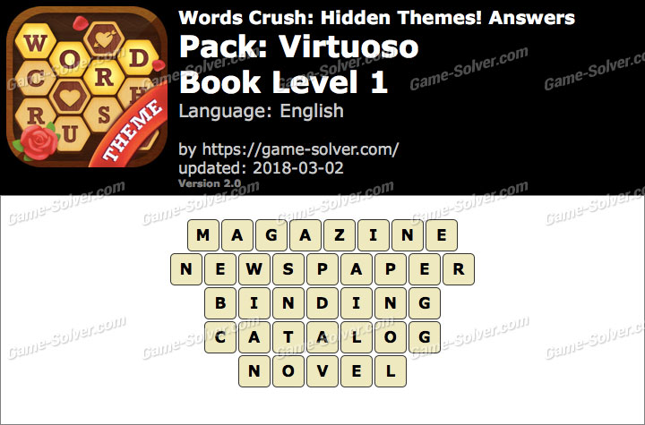 Words Crush Virtuoso-Book Level 1 Answers