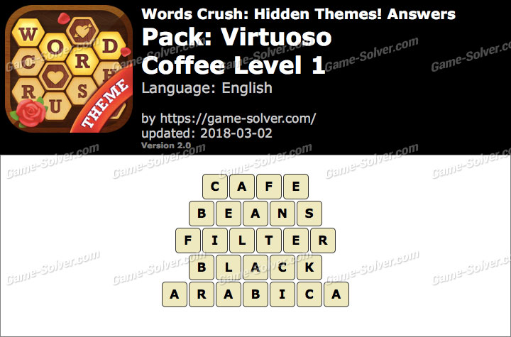 Words Crush Virtuoso-Coffee Level 1 Answers
