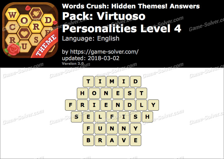 Words Crush Virtuoso-Personalities Level 4 Answers