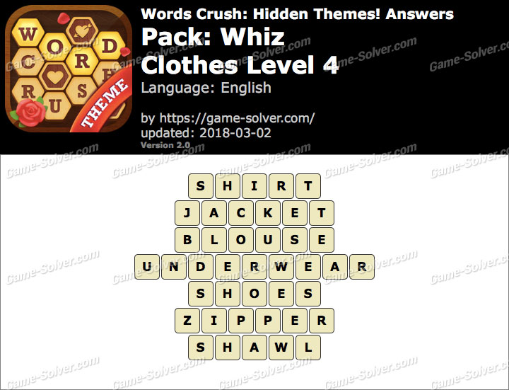 Words Crush Whiz-Clothes Level 4 Answers