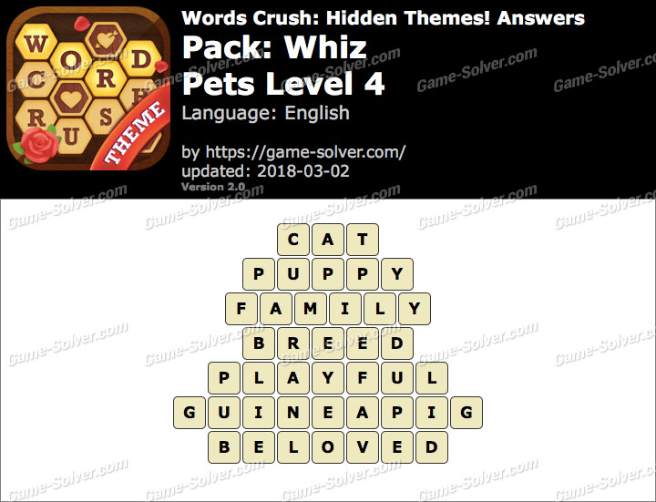 Words Crush Whiz-Pets Level 4 Answers