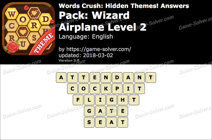 Words Crush Wizard-Airplane Level 2 Answers