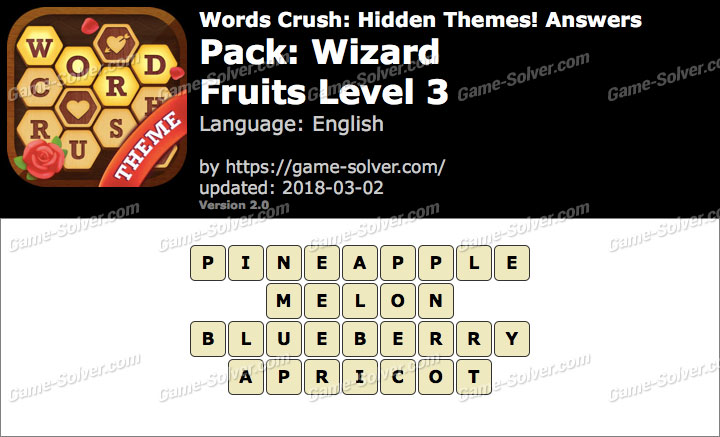 Words Crush Wizard-Fruits Level 3 Answers