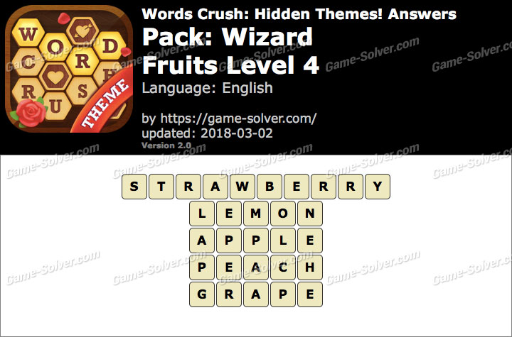 Words Crush Wizard-Fruits Level 4 Answers