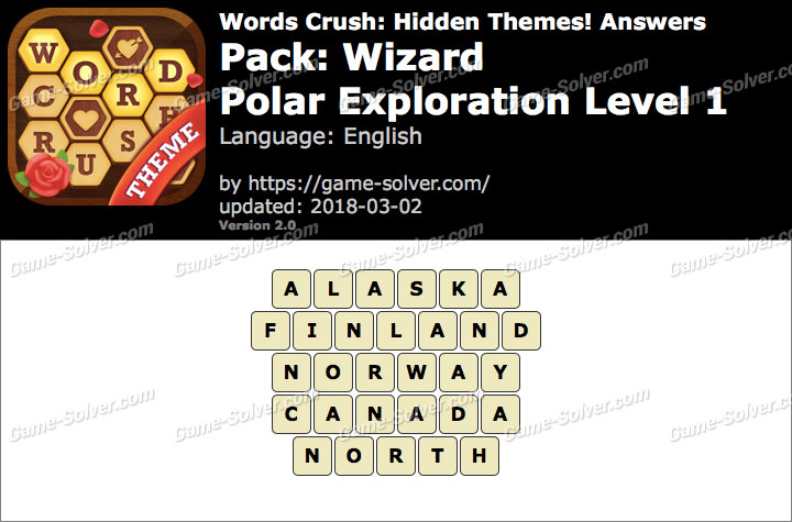Words Crush Wizard-Polar Exploration Level 1 Answers