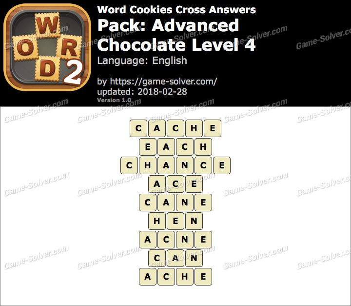 Word Cookies Cross Advanced-Chocolate Level 4 Answers