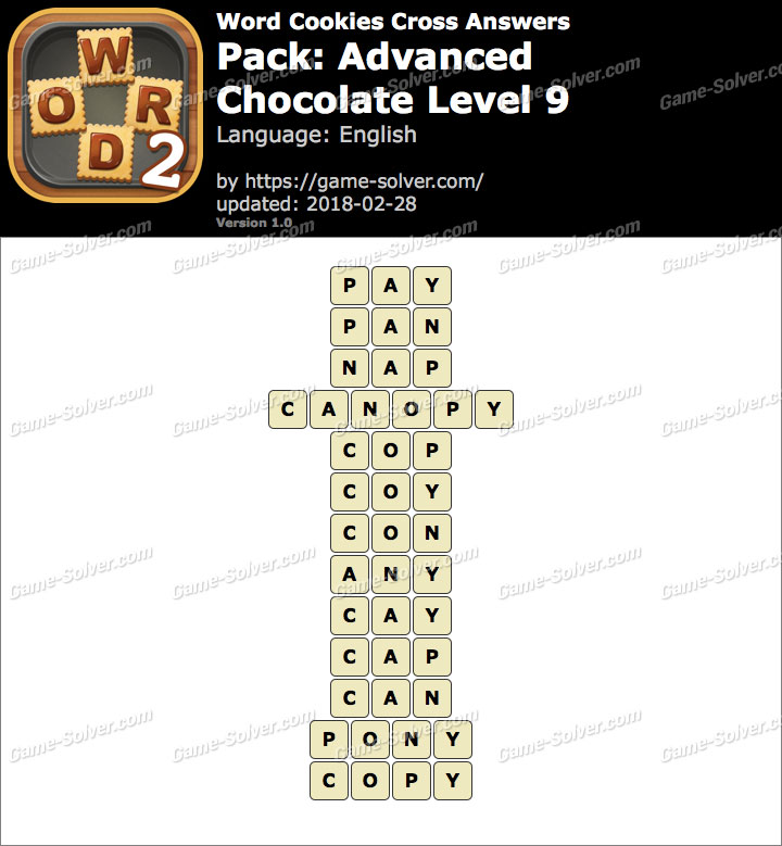 Word Cookies Cross Advanced-Chocolate Level 9 Answers