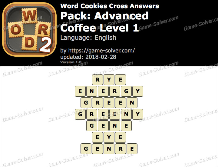 Word Cookies Cross Advanced-Coffee Level 1 Answers