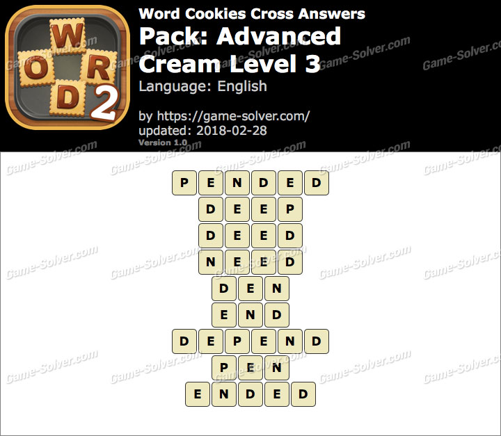 Word Cookies Cross Advanced-Cream Level 3 Answers