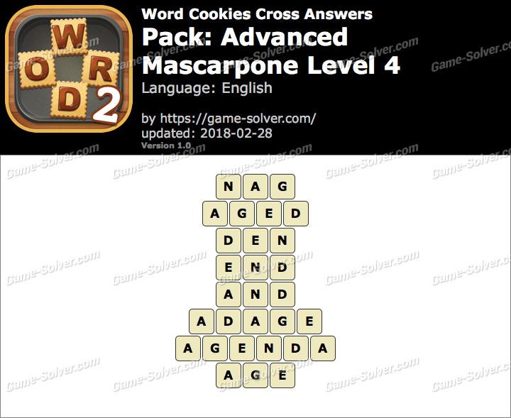 Word Cookies Cross Advanced-Mascarpone Level 4 Answers