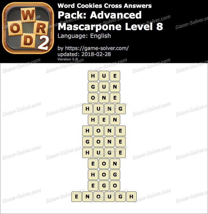 Word Cookies Cross Advanced-Mascarpone Level 8 Answers