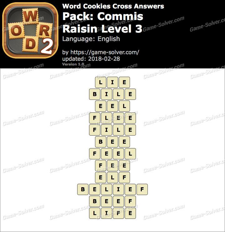 Word Cookies Cross Commis-Raisin Level 3 Answers