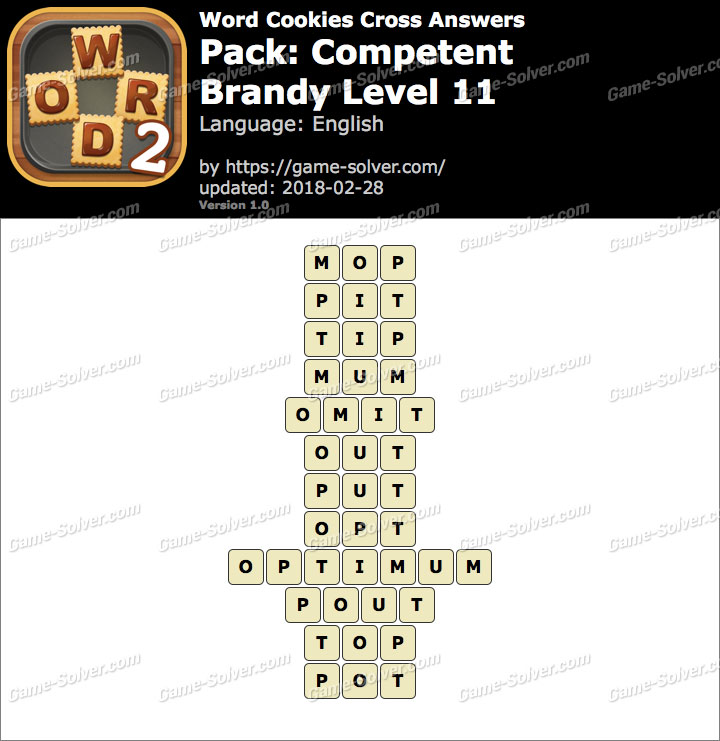 Word Cookies Cross Competent-Brandy Level 11 Answers