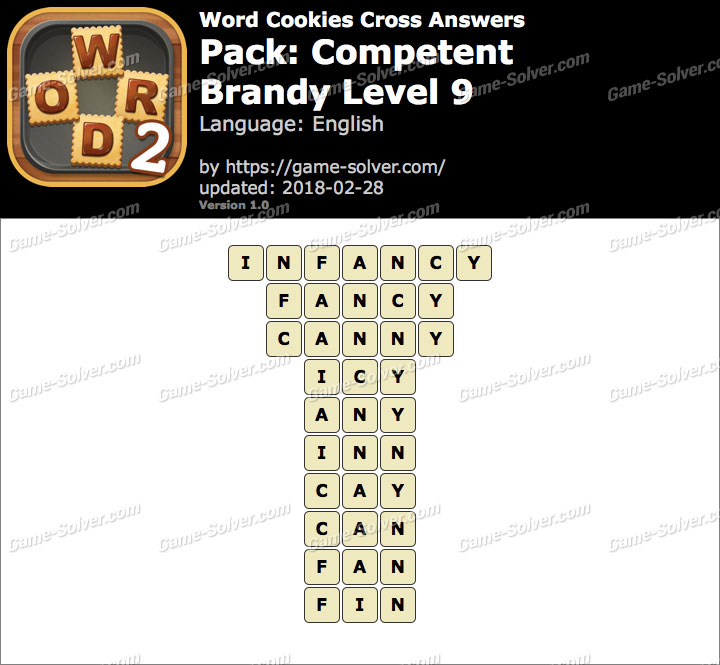 Word Cookies Cross Competent-Brandy Level 9 Answers