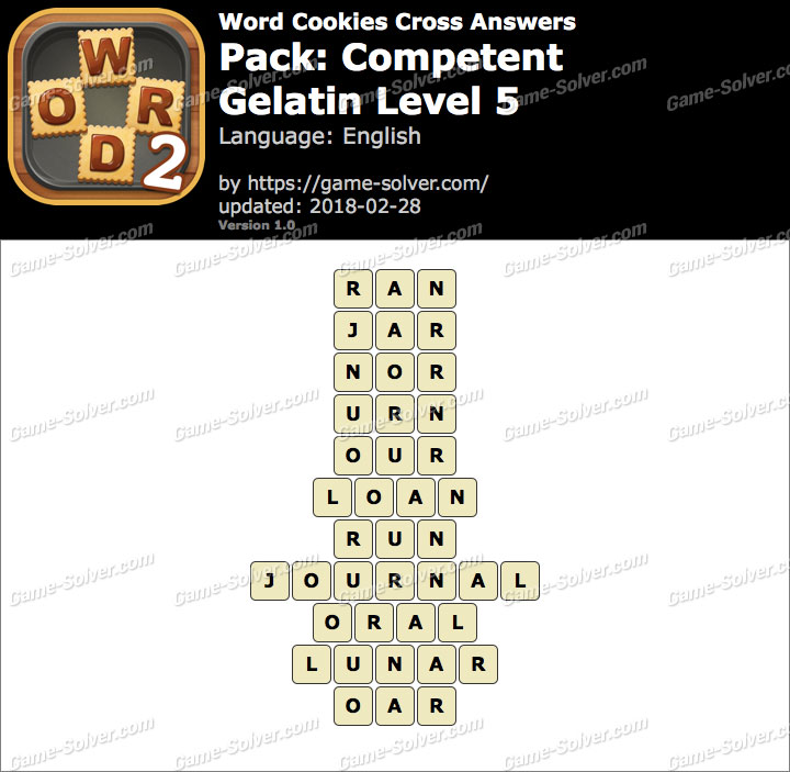Word Cookies Cross Competent-Gelatin Level 5 Answers