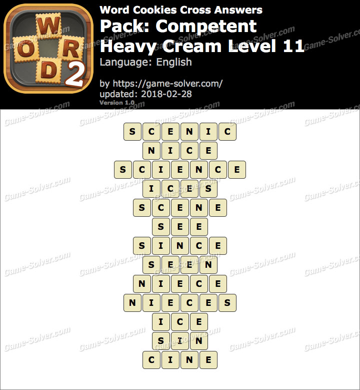 Word Cookies Cross Competent-Heavy Cream Level 11 Answers