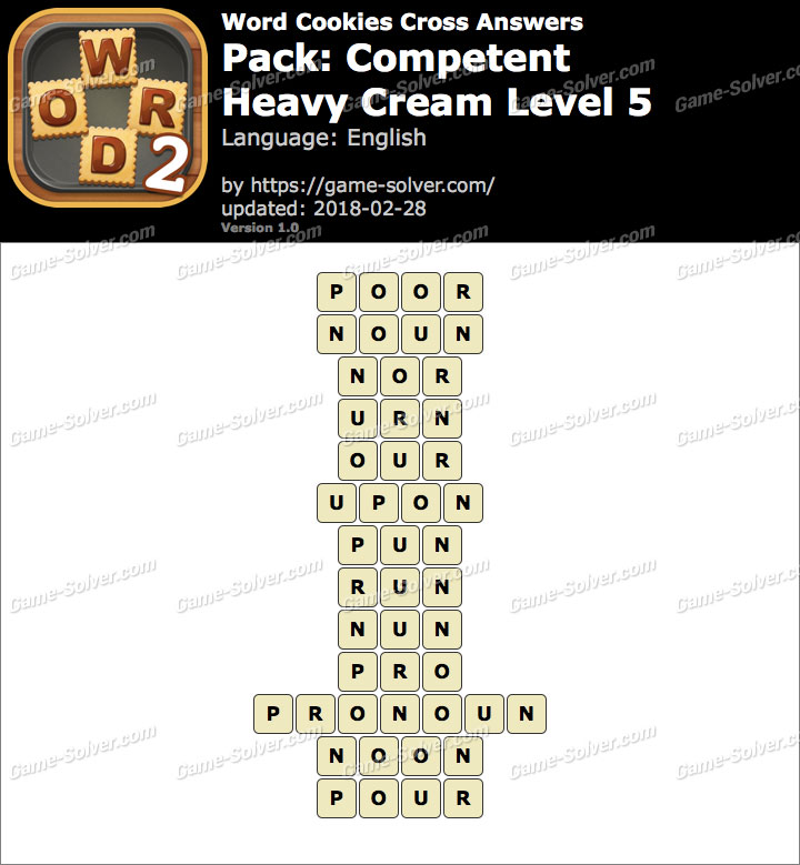 Word Cookies Cross Competent-Heavy Cream Level 5 Answers