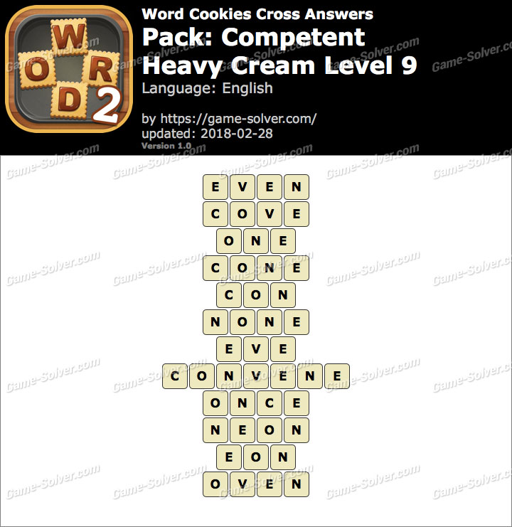 Word Cookies Cross Competent-Heavy Cream Level 9 Answers