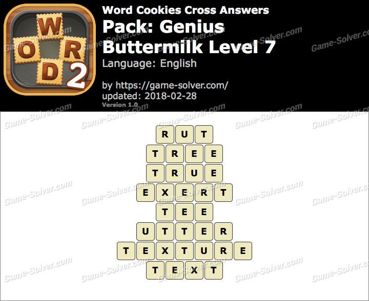 Word Cookies Cross Genius-Buttermilk Level 7 Answers
