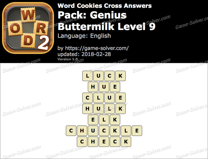 Word Cookies Cross Genius-Buttermilk Level 9 Answers