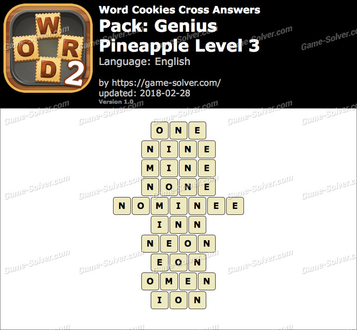 Word Cookies Cross Genius-Pineapple Level 3 Answers