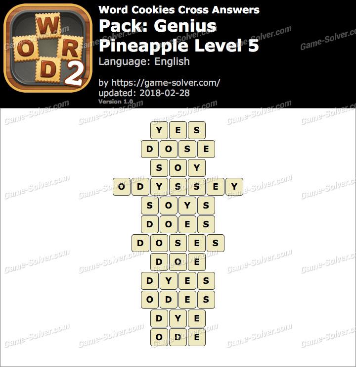 Word Cookies Cross Genius-Pineapple Level 5 Answers