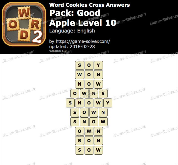Word Cookies Cross Good-Apple Level 10 Answers