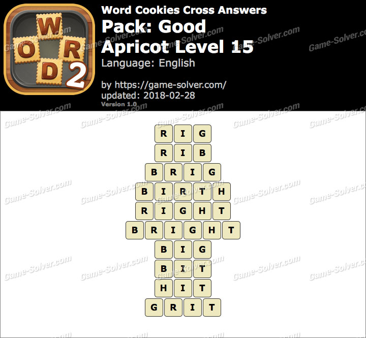 Word Cookies Cross Good-Apricot Level 15 Answers