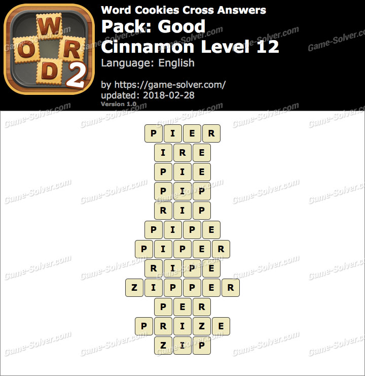 Word Cookies Cross Good-Cinnamon Level 12 Answers