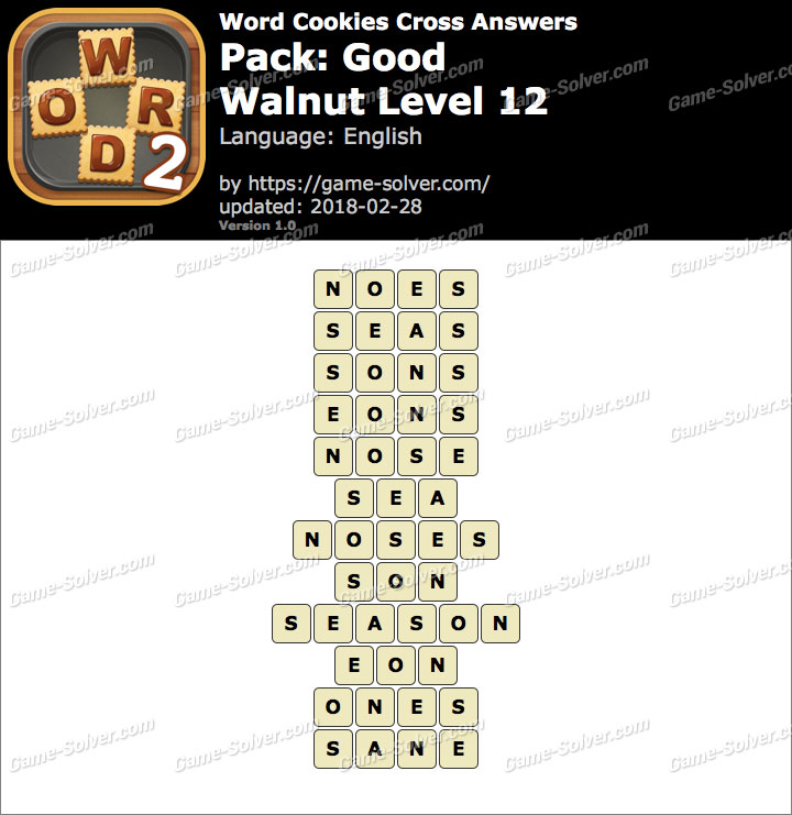 Word Cookies Cross Good-Walnut Level 12 Answers