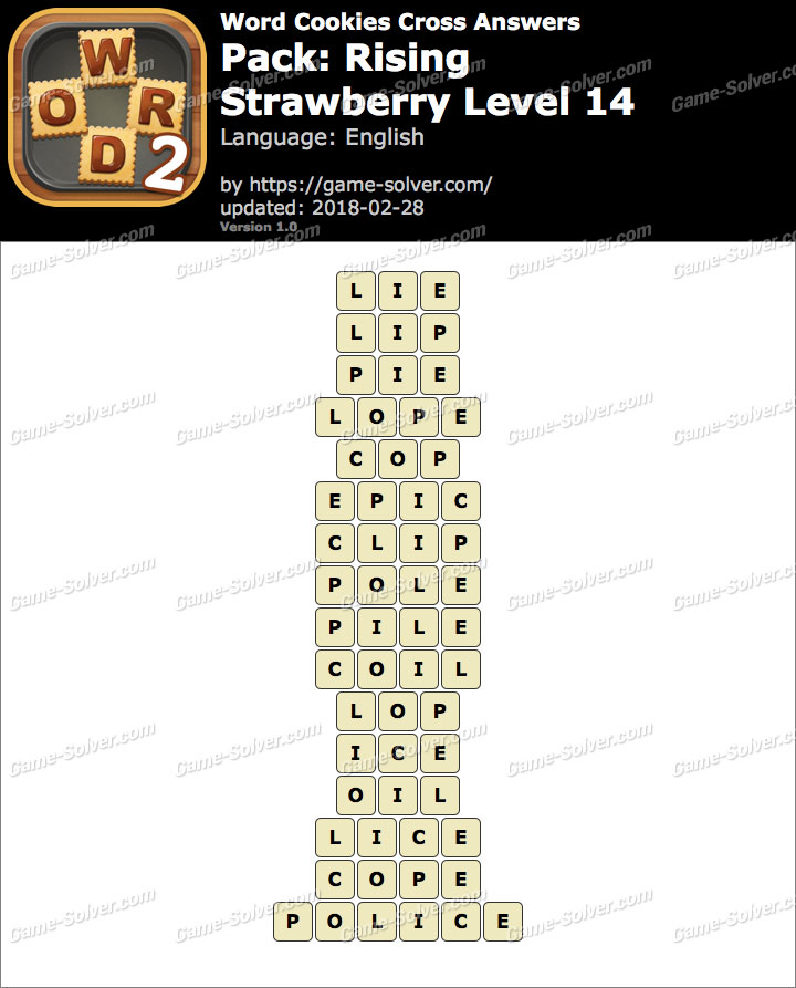 Word Cookies Cross Rising-Strawberry Level 14 Answers