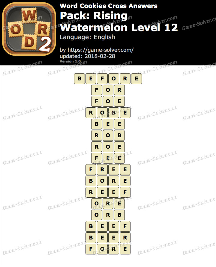 Word Cookies Cross Rising-Watermelon Level 12 Answers