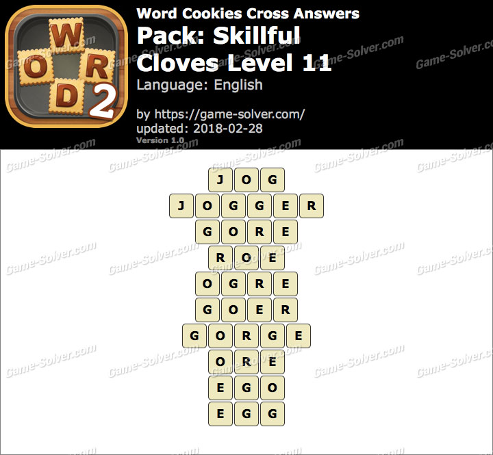 Word Cookies Cross Skillful-Cloves Level 11 Answers