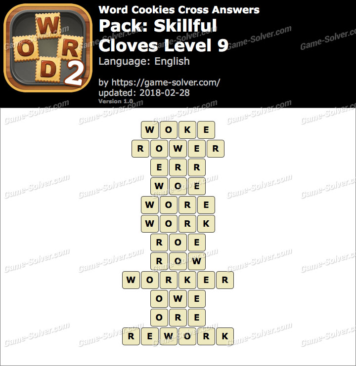 Word Cookies Cross Skillful-Cloves Level 9 Answers