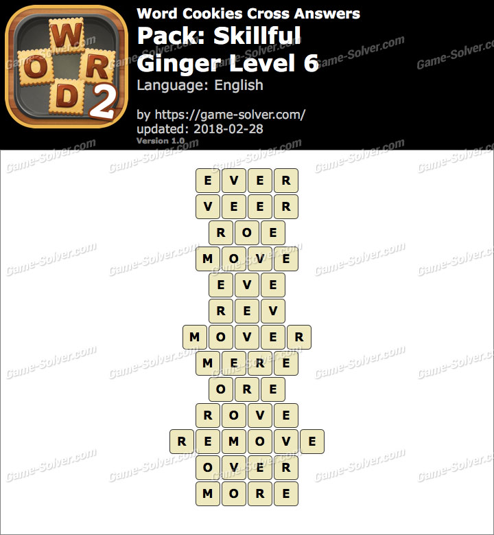 Word Cookies Cross Skillful-Ginger Level 6 Answers