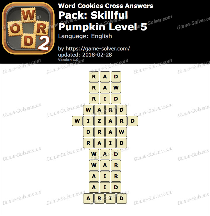 Word Cookies Cross Skillful-Pumpkin Level 5 Answers