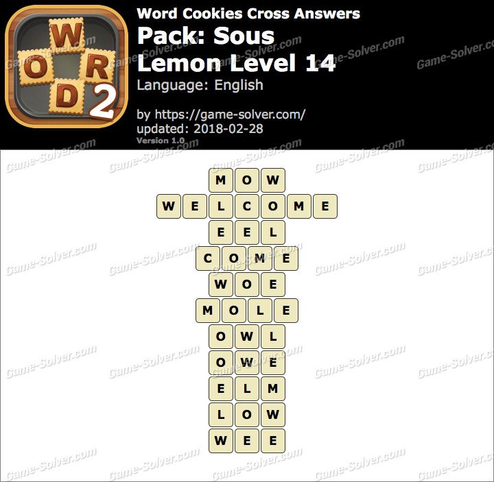 Word Cookies Cross Sous-Lemon Level 14 Answers