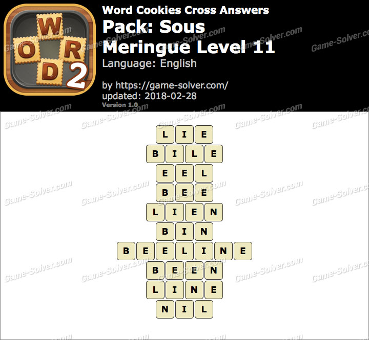 Word Cookies Cross Sous-Meringue Level 11 Answers