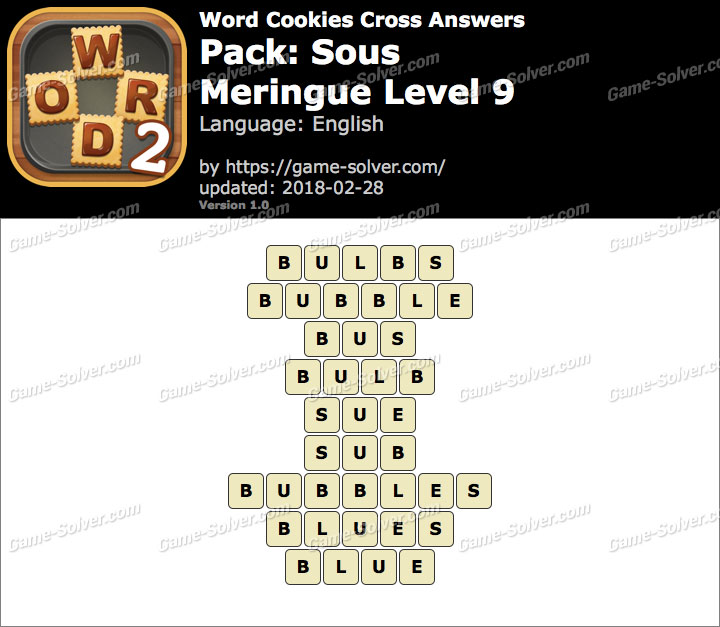 Word Cookies Cross Sous-Meringue Level 9 Answers