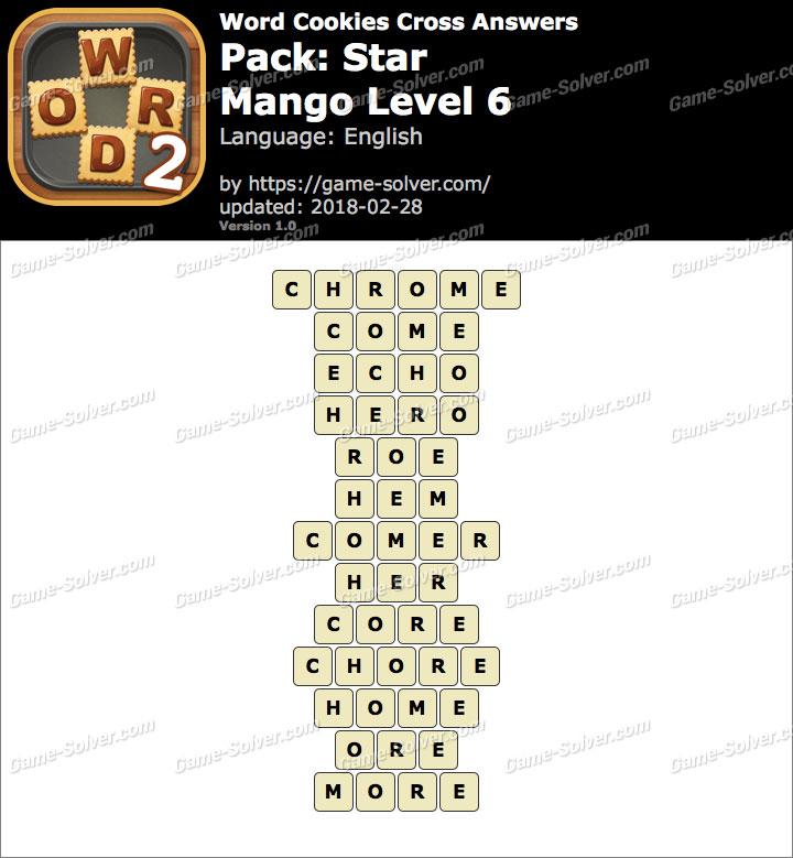 Word Cookies Cross Star-Mango Level 6 Answers