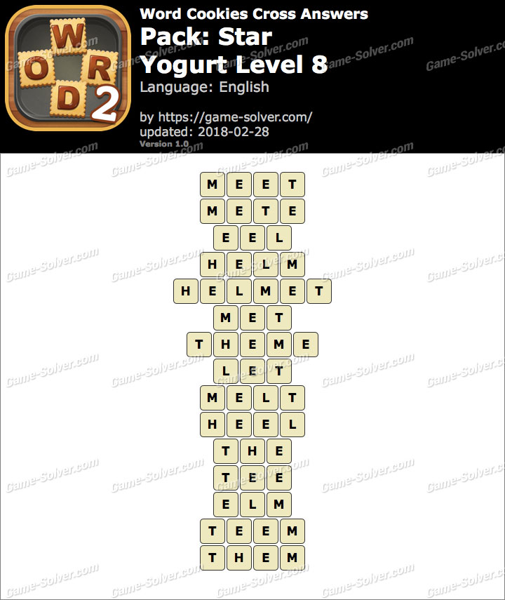 Word Cookies Cross Star-Yogurt Level 8 Answers