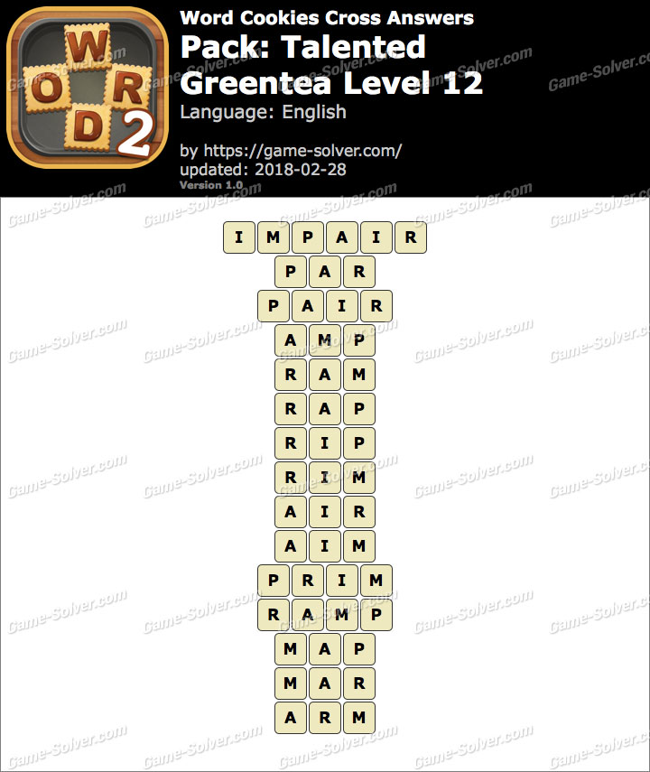 Word Cookies Cross Talented-Greentea Level 12 Answers