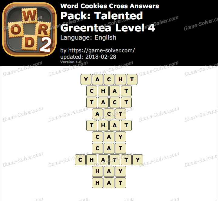 Word Cookies Cross Talented-Greentea Level 4 Answers