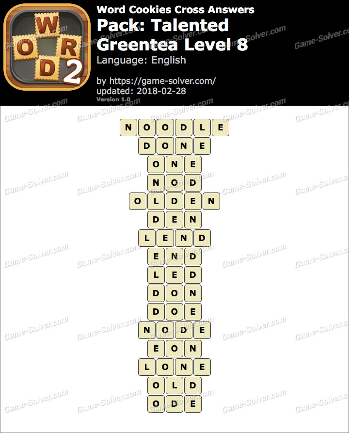 Word Cookies Cross Talented-Greentea Level 8 Answers