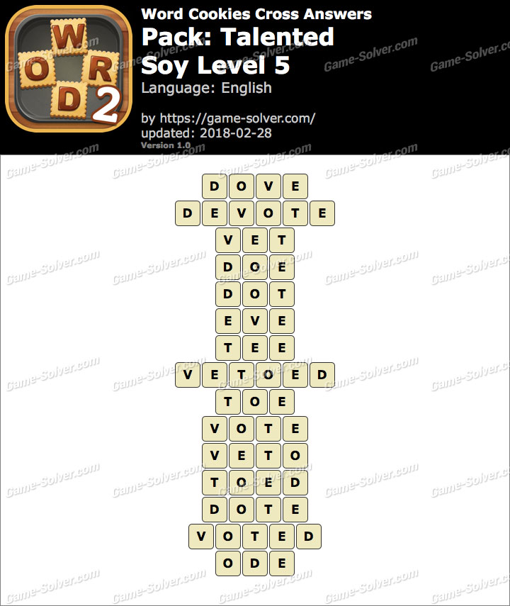 Word Cookies Cross Talented-Soy Level 5 Answers