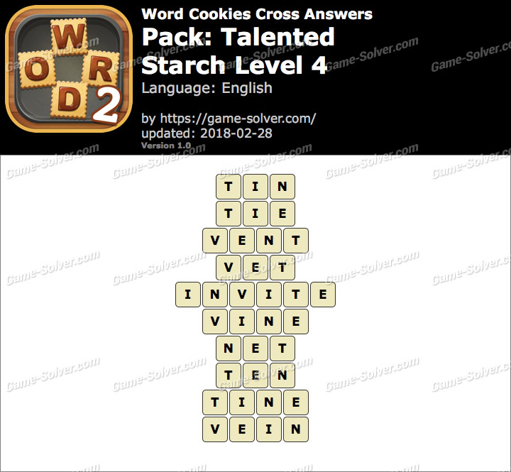 Word Cookies Cross Talented-Starch Level 4 Answers