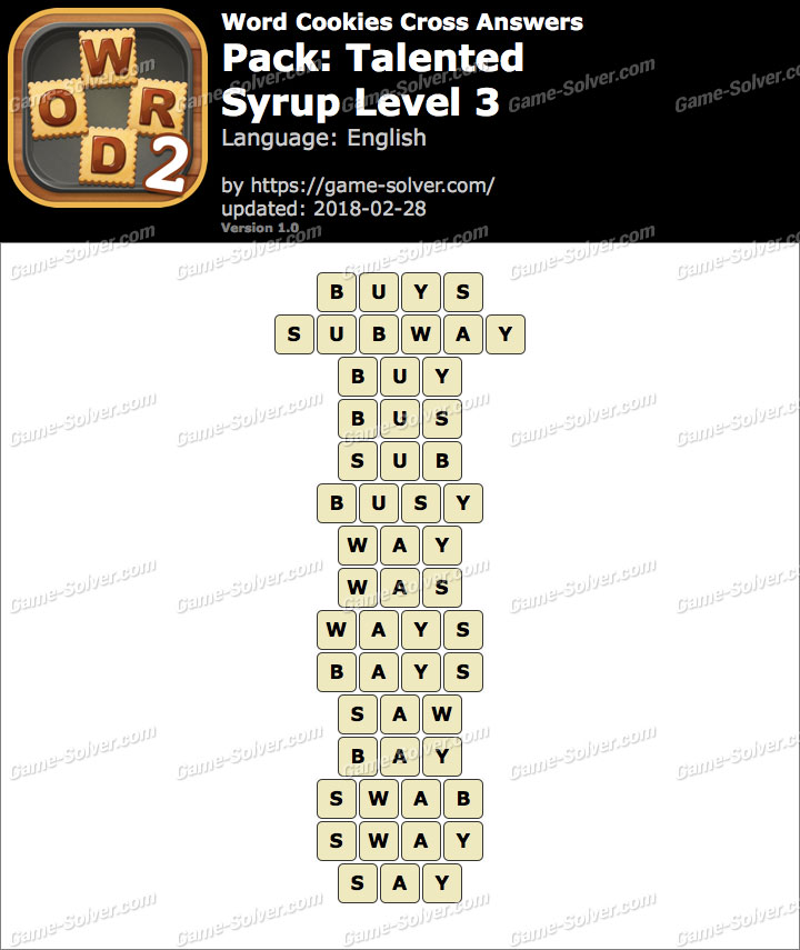 Word Cookies Cross Talented-Syrup Level 3 Answers